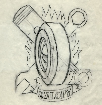 The original pencil sketch that Dennis did for my tattoo.