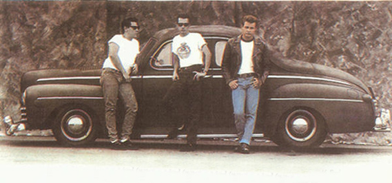 A couple of original members in front of Jim Bouchard's '46 Ford in 1986.