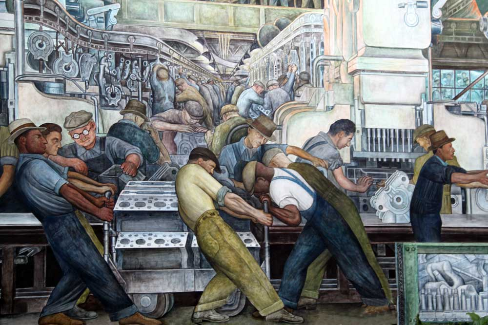 Diego rivera s ford detroit industry mural the jalopy for Diego rivera detroit mural