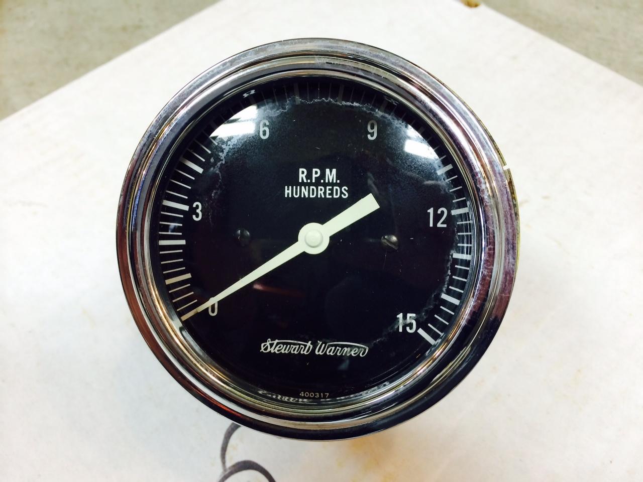 vintage stewart warner police speedometer large face tach hand 1500 rpm tach