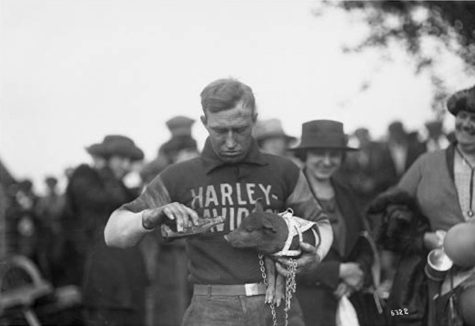 "17 Harley-Davidson ""Hog Boys"" racer Ray Weishaar taking good care of the team mascot.1.jpg"