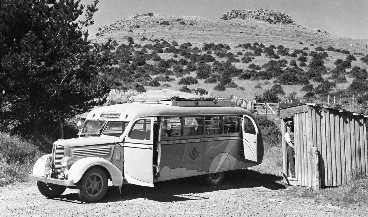 1938 Dodge bus Hickory Bay junction Banks Peninsula 1951.jpg