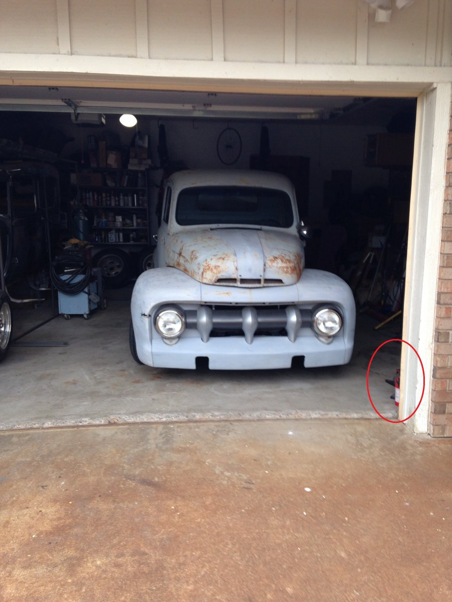 1949 Ford PU Front in garage - Copy.JPG