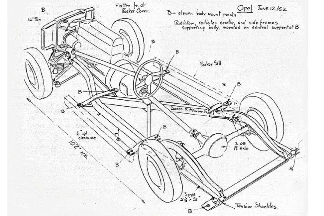 1953 Chevy Corvette frame sketch Maurice Olley 1952.jpg
