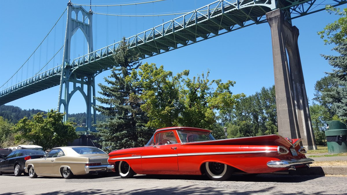 1959 El camino st johns bridge cathedral park.jpg