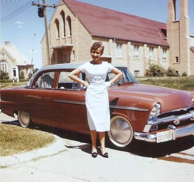 1960 - Mom with Dad's 1955 Plymouth Belvedere Four Door (Mild Custom).jpg