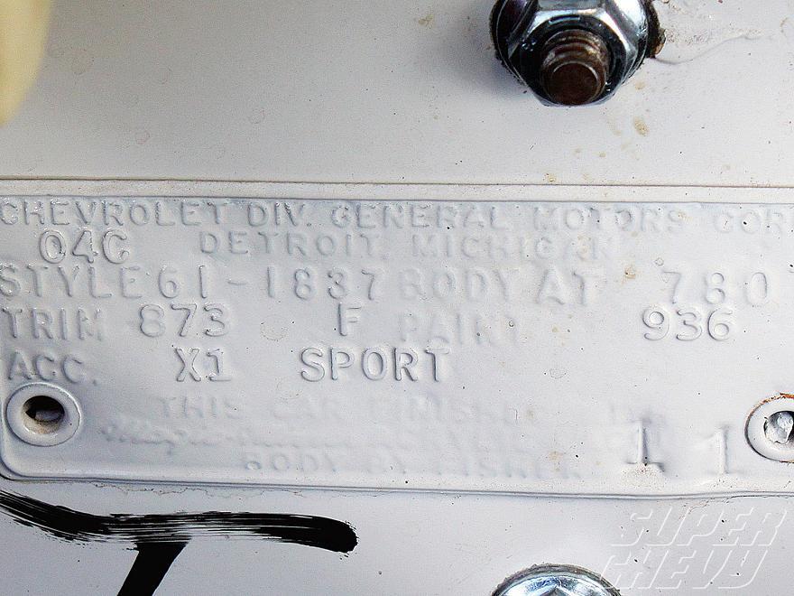 1961 Chevy Impala Super Sport body tag.jpg