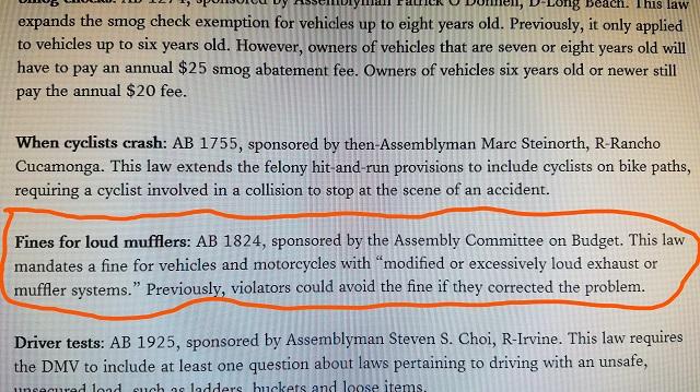 new california muffler law