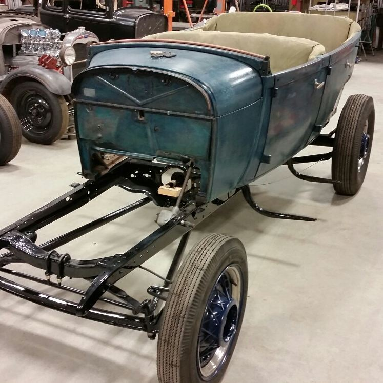 '29 TUB body on chassis at Tardel's 'Rex Rod & Chassis' shop.jpg