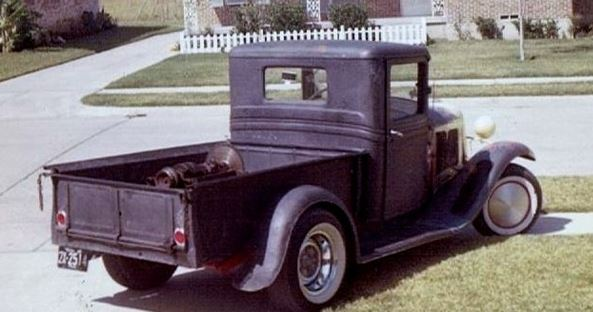 34 Ford pu with 51 Merc engine in bed.JPG