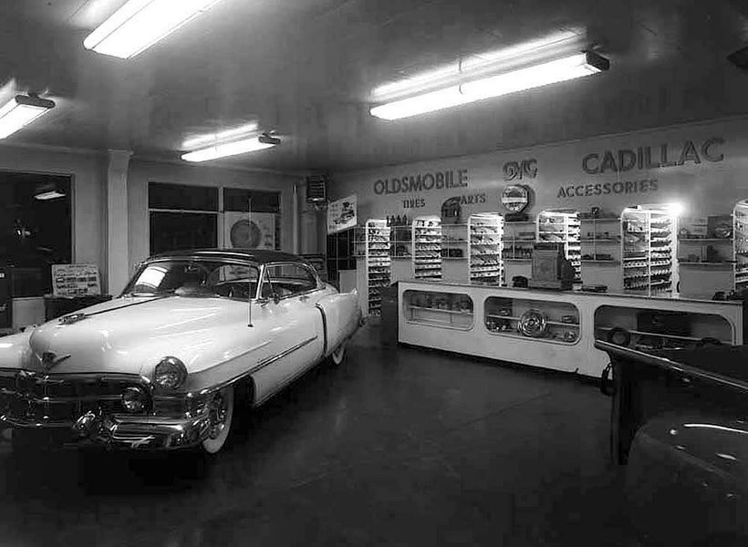 52 Olds GMC Caddy parts room.JPG