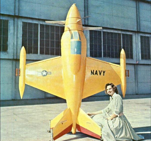 6 Model of Lockheed XFV-1 VTOL POGO Navy fighter.JPG