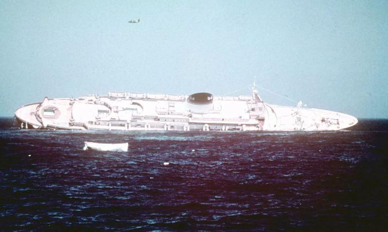 7-25-56 photo of the sinking Andrea Doria ~50 miles off the coast of Nantucket.JPG