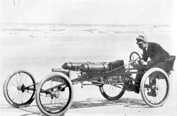 70 Ransom E. Olds in the Olds Pirate racing car - Ormond Beach, Florida. 1897.jpg