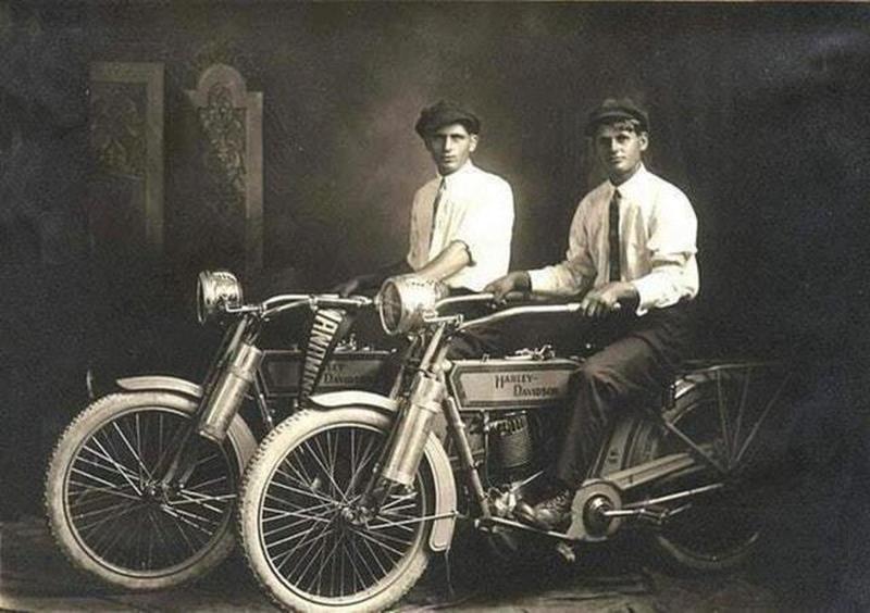 98 William Harley and Arthur Davidson on their bikes, 1914..jpg
