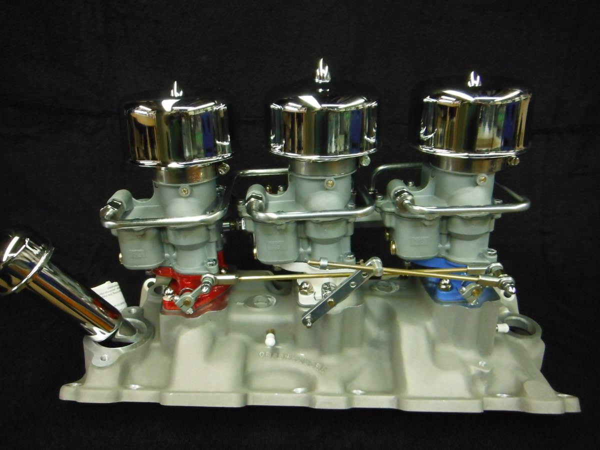 Offenhauser CHEVY TRI POWER INTAKE MANIFOLD Holley 94 CARBS