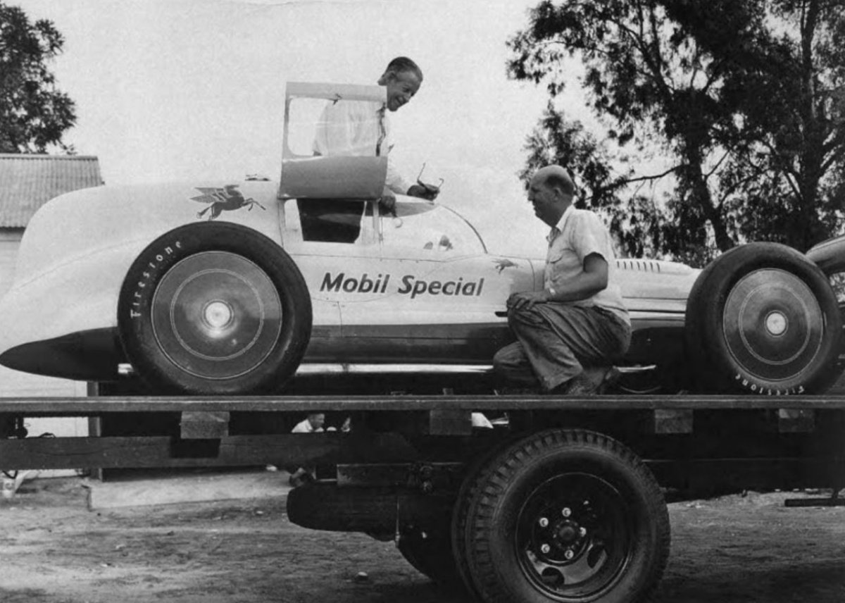 Ab Jenkins looks over the Novi equipped 'Mobil Special' - 1947.JPG