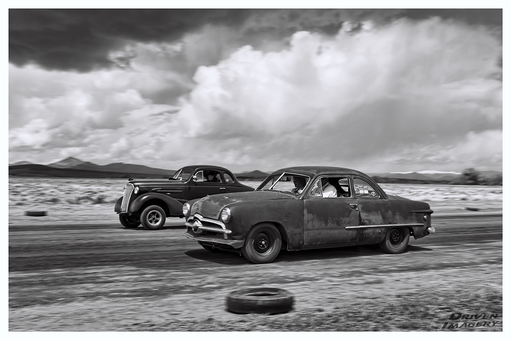 Amy Quintana - 1949 Ford Coupe & Tony Estrada - 1937 Chevrolet Coupe - B&W.jpg