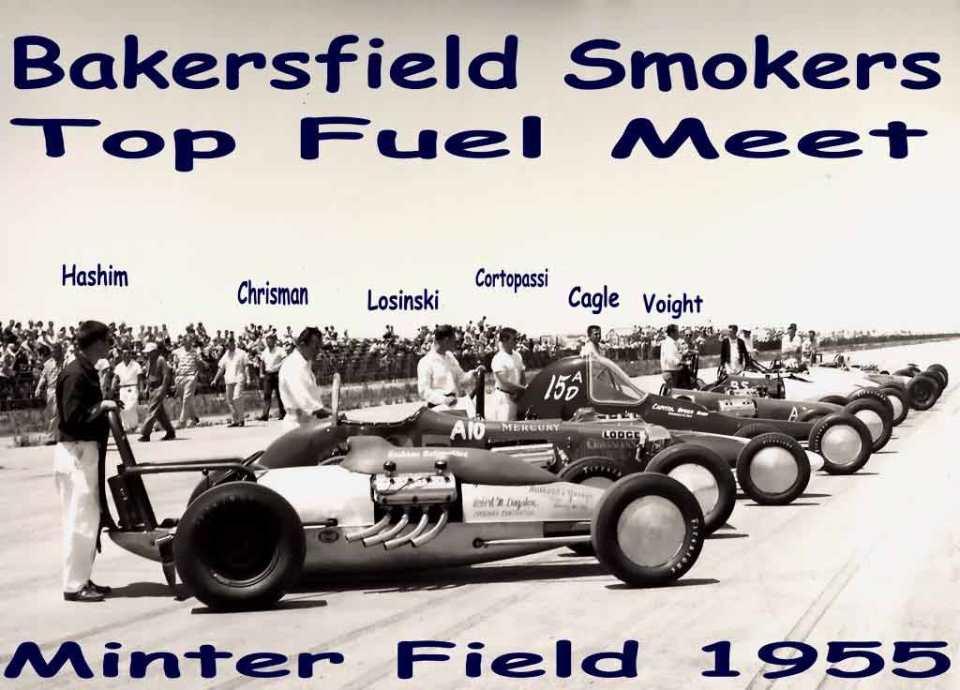 Bakersfield Smokers top fuel meet at Minter Field in 1955.jpg