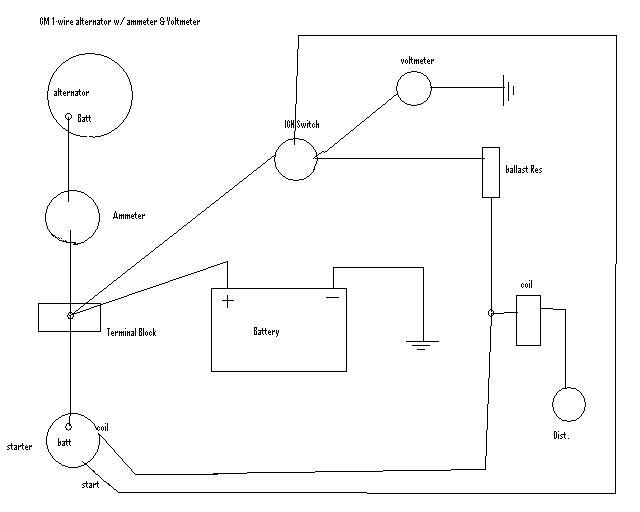 gm one wire alternator diagram