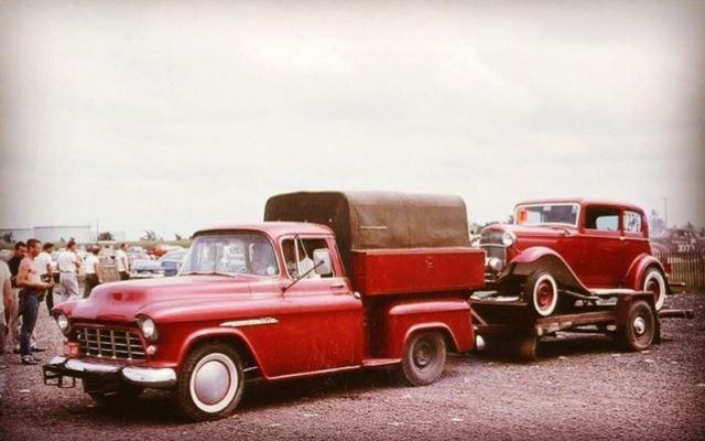 Chevy pickup towing a Deuce Vicky dragcar.JPG