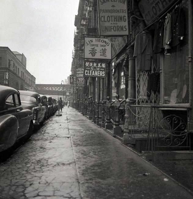 Chinatown sidewalk, New York City.  Photo taken in January 1953 by Frank Oscar Larson. .jpg