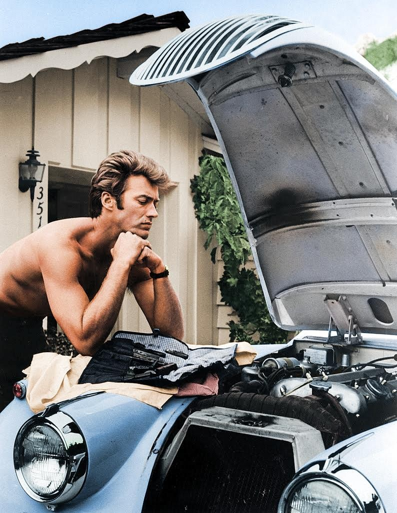 clint working on his Jag XK 120 1960.jpg