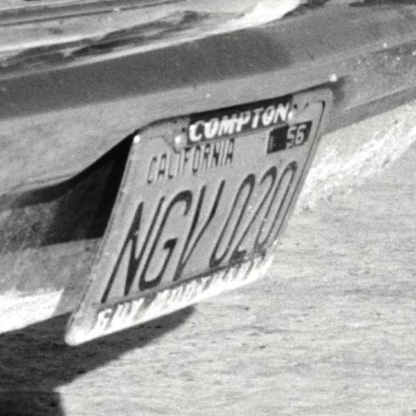 Compton license plate from on \'57 300C @ Bonneville in 1957 (by WIlliam Hewitt).JPG