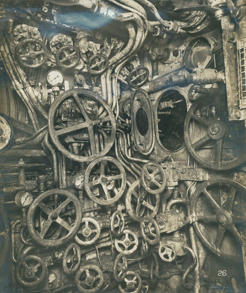 Control room of UB-110, German submarine.jpg