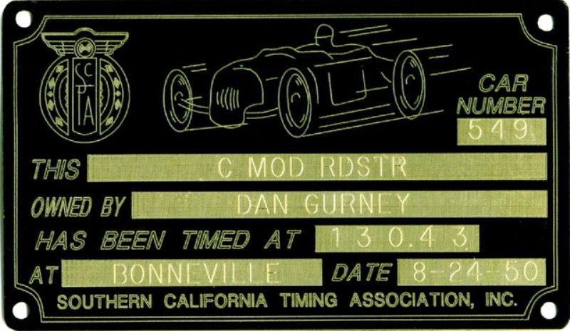 Dan Gurney - 1950 Bonneville Timing Tag.jpg