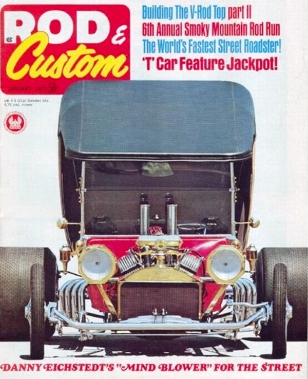 Danny Eichstedt's LEG SHOW T-Bucket on cover of January 1971 R&C.jpg