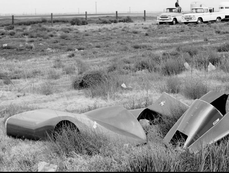 Dragster streamliner body parts out in the weeds.JPG