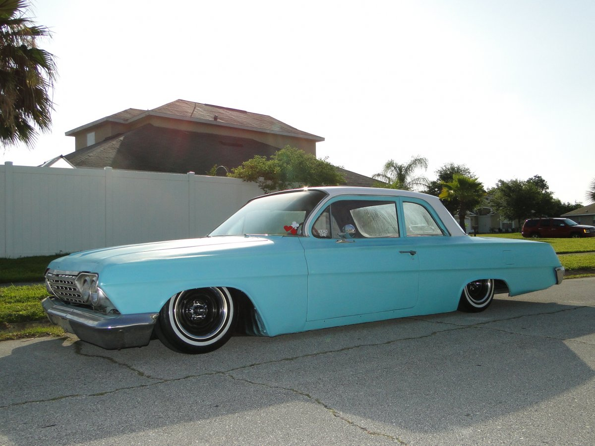 Bagged 62 Chevy Biscayne Coupe