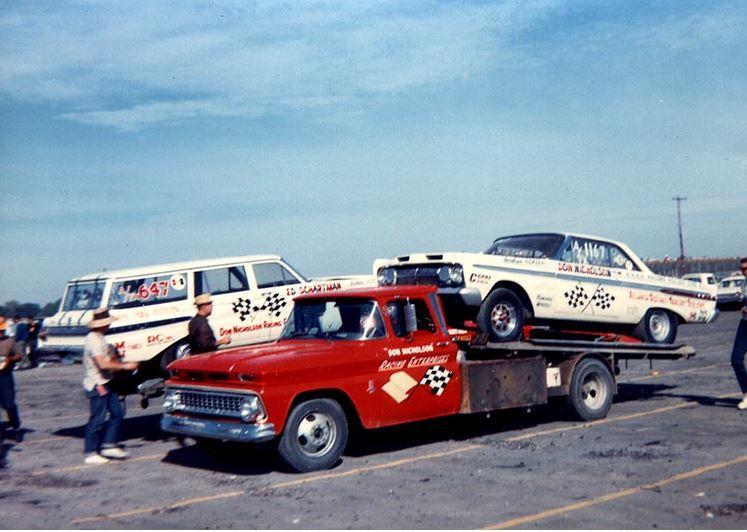 Dyno Don AFX Cars on CHEVY ramp truck.JPG