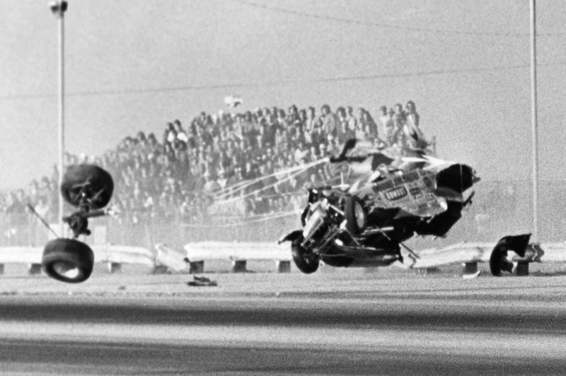 Ed Sigmon\'s fortitude was tested again when his roadster crashed at Bakersfield.jpg