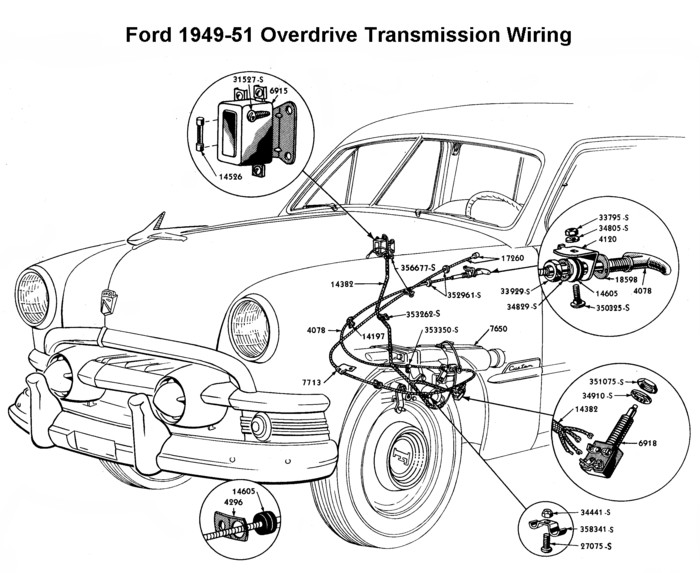 help has anyone use a 1950's ford 3 speed overdrive trans the 1950 Ford Wiring Harness flathead_electrical_wiring1949 51overdrive jpg 1950 ford wiring harness
