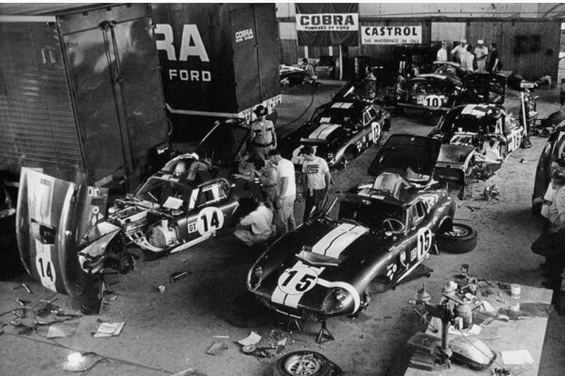 Ford at Sebring 1965 four Daytona coupes and two GT40s.JPG