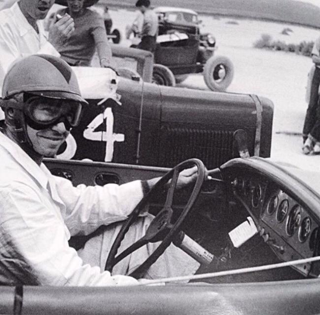 Fred Lobello in his Dry Lakes Deuce Roadster.jpg