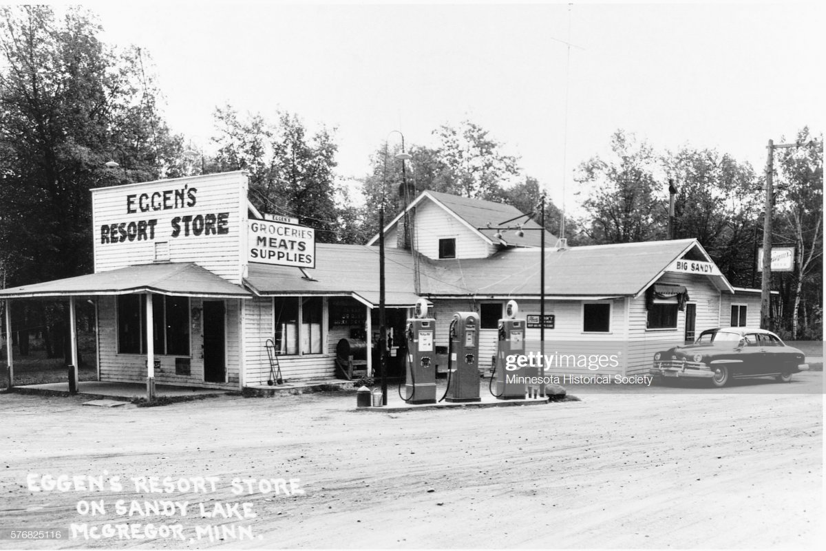 gas5 Postcard of Eggen's Resort Store on Sandy Lake Minnesota.jpg