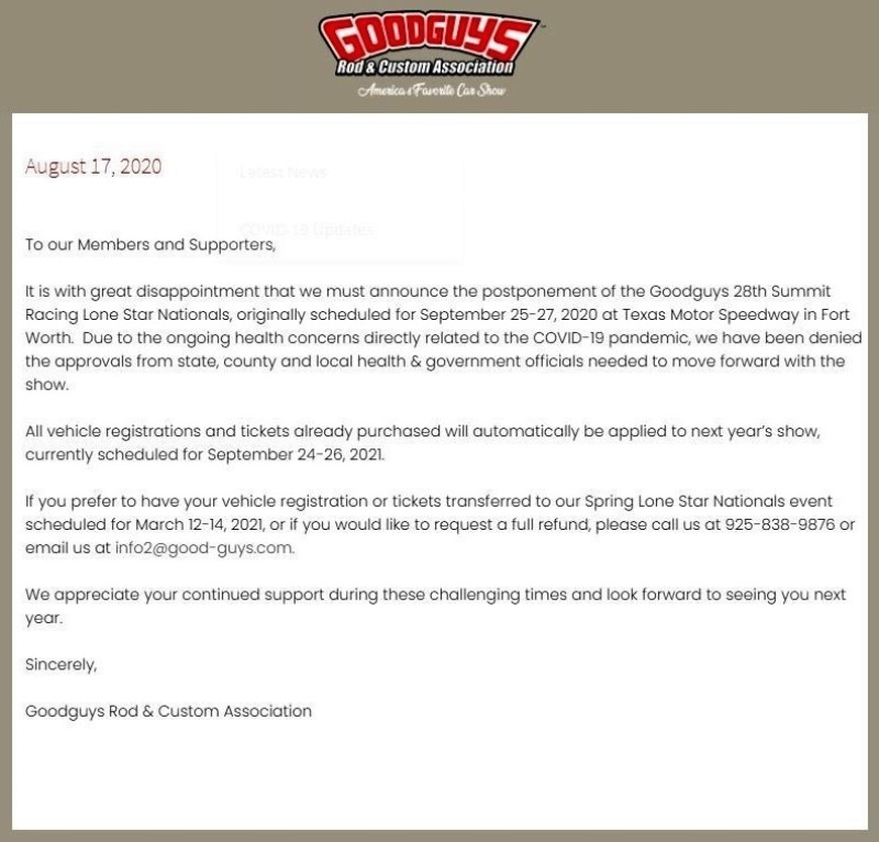 GoodGuy's Lone Star Nats Cancelled.JPG