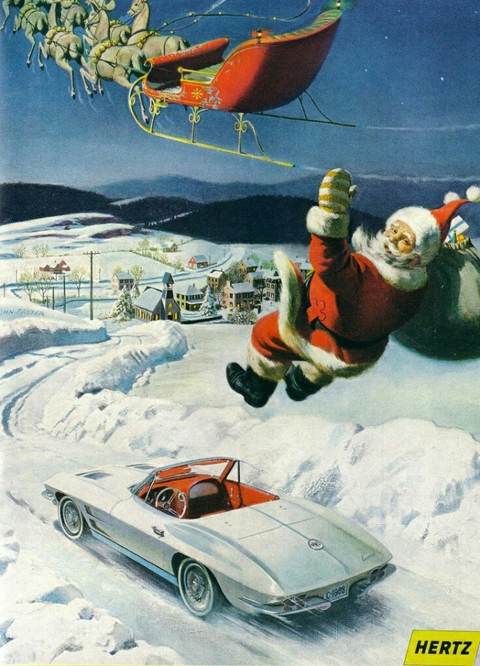 holiday Christmas ad car1963 Chevy Corvette Santa Claus Hertz ad.jpg