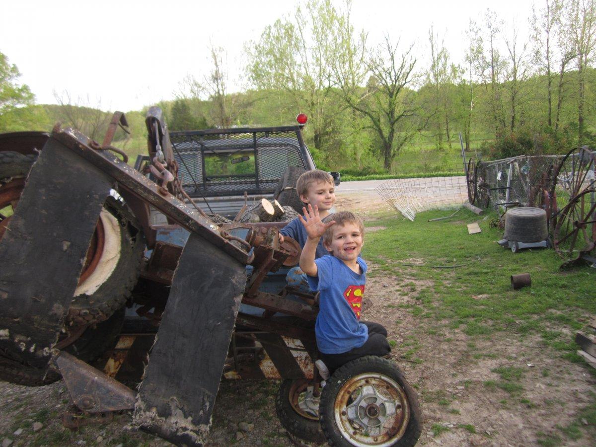 Homebuilt Tractor and Boys 001.JPG