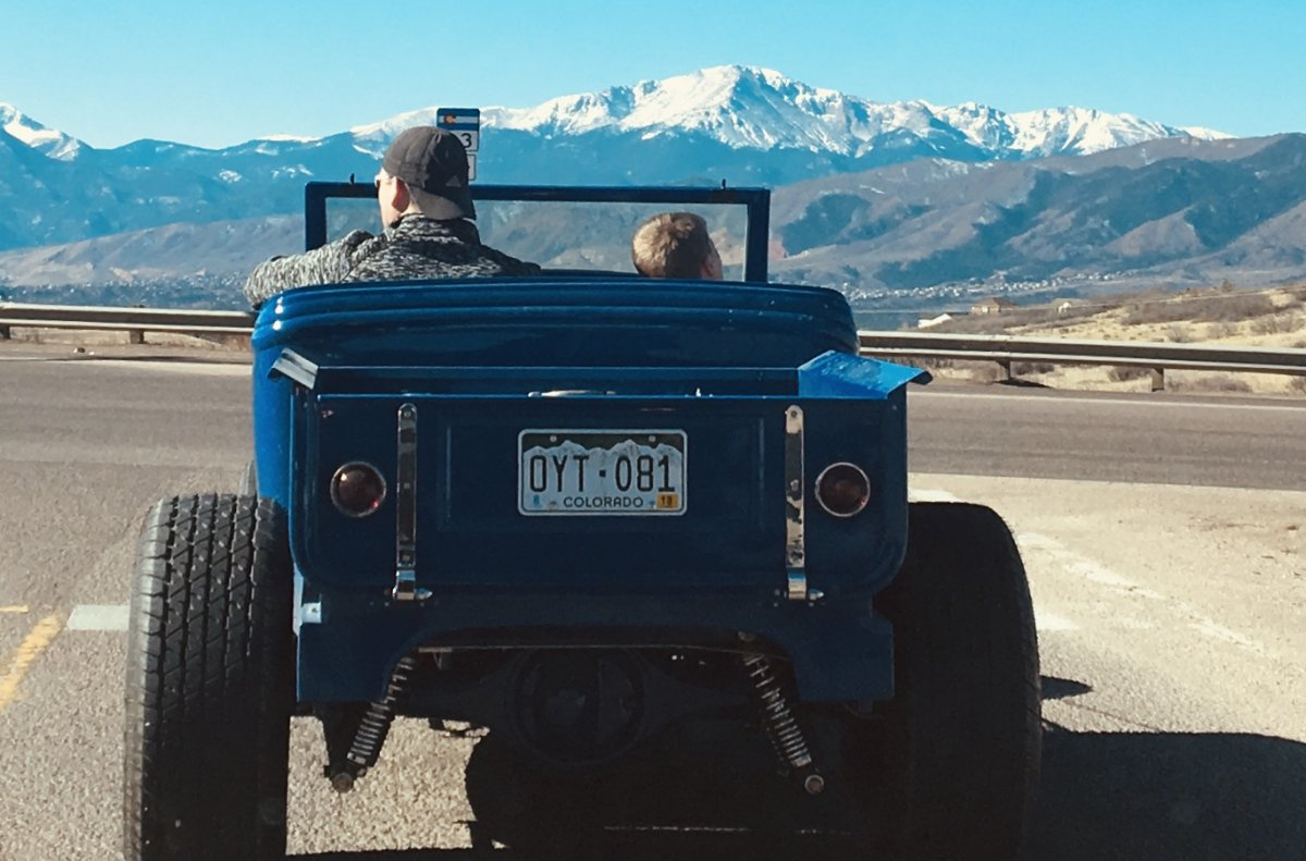 Hot rod with Pikes Peak view.jpg
