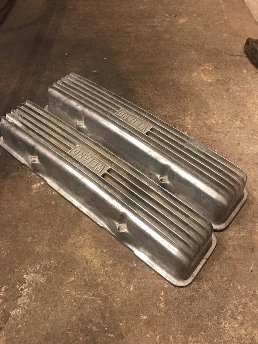 Vintage Weiand Block Letter Sbc Valve Covers Sold