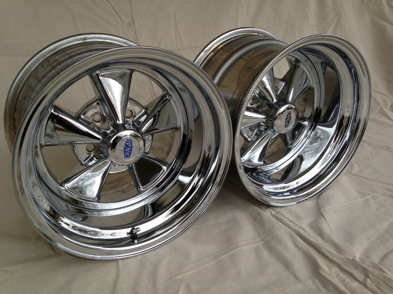 Pair Cragar S/S SS 15x10 DIRECT PATTERN 5 on 4.5 MINT ...