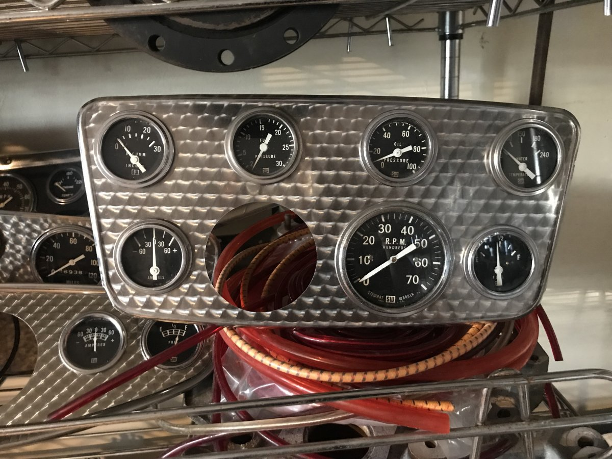 Engine Turned Gauge Panel Loaded With Stewart Warner