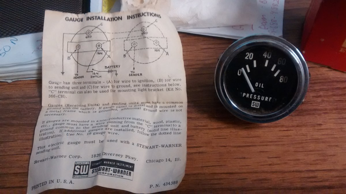 Early Stewart Warner Oil Pressure Gauge And Sender D353z