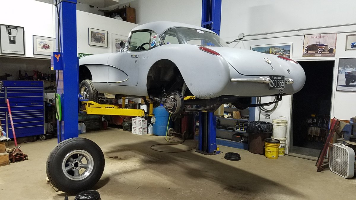 Installing the 57 Olds rear today 1.jpg