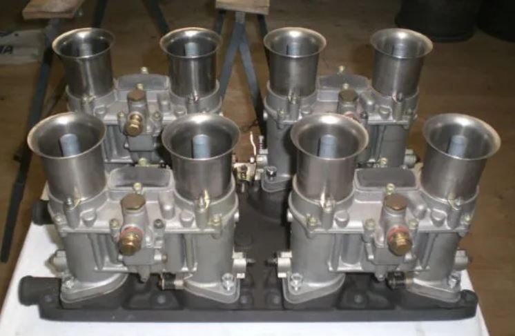 int34 Italian Weber 48 IDA's on GT40 twin outlet magnesium manifold.JPG