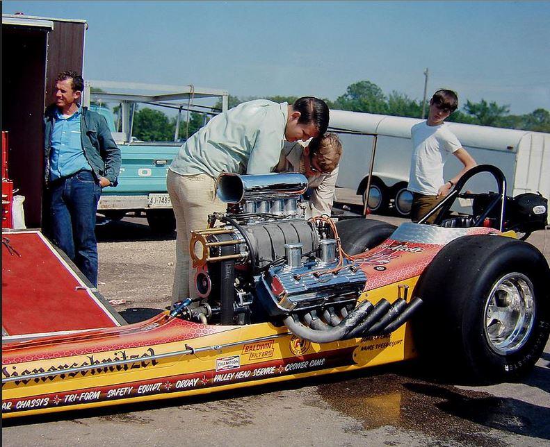 Jim Nicoll drove the Weinerschnitzel top fuel car.JPG
